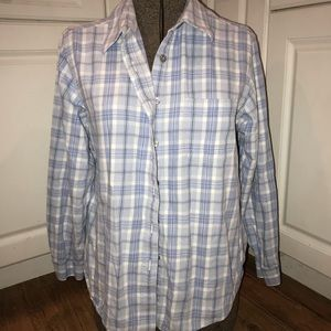 LL Bean Plaid button up flannel size Large